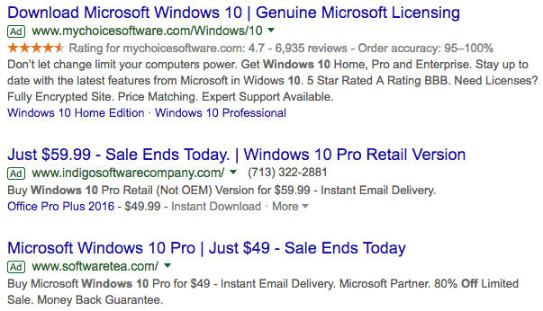 Windows 10 SERP Screenshot