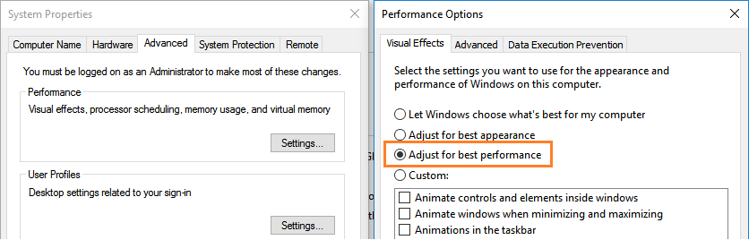 adjust for best performance