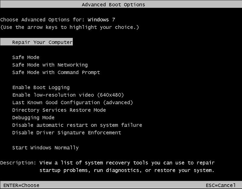 Advanced Boot Options - Windows 7
