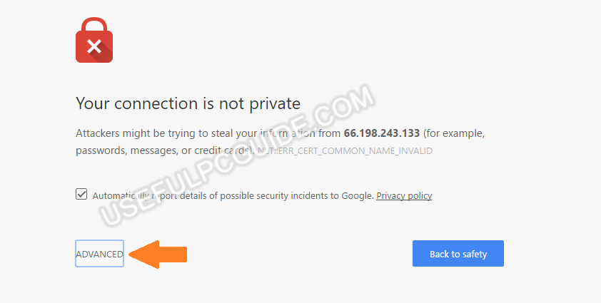advanced your connection is not private