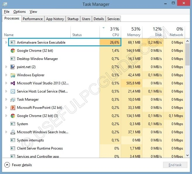 antimalware service executable high cpu task manager