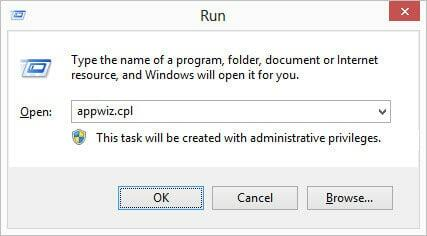 How to run appwiz.cpl