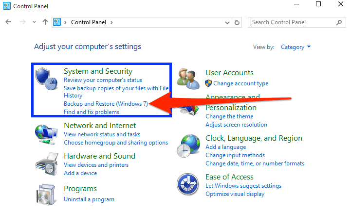 Click Backup and Restore in the Windows control panel
