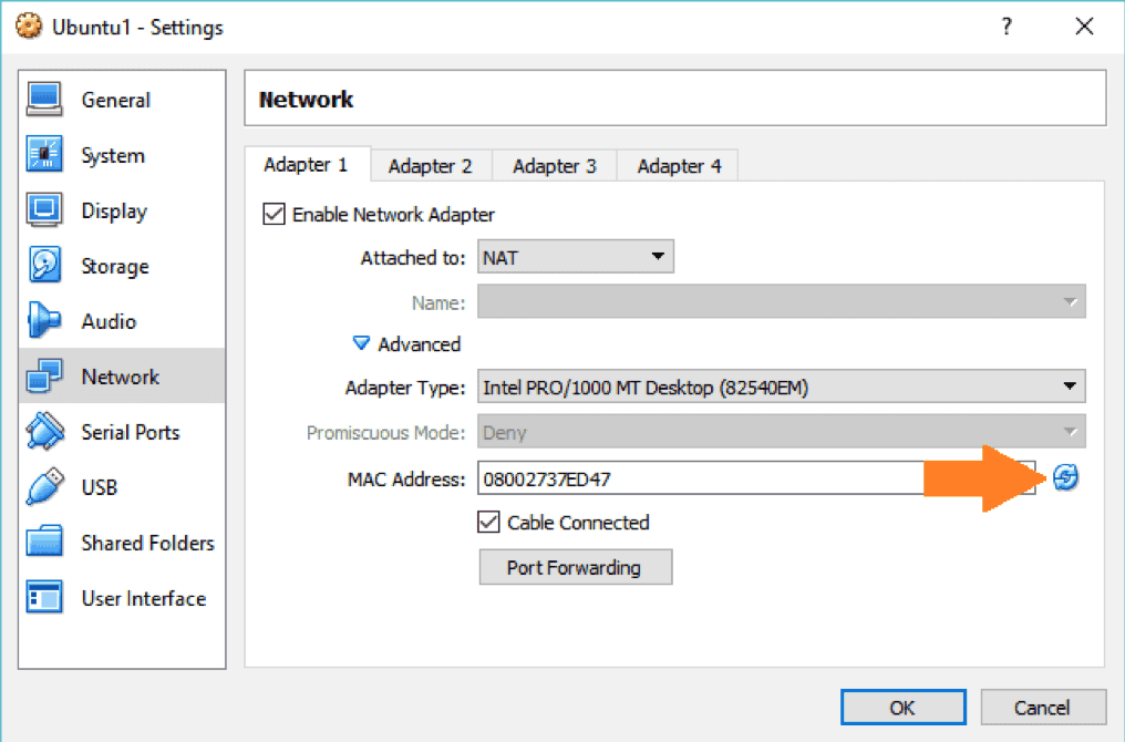 change mac address in Virtualbox