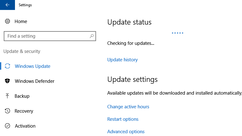 Checking for updates in Windows 10