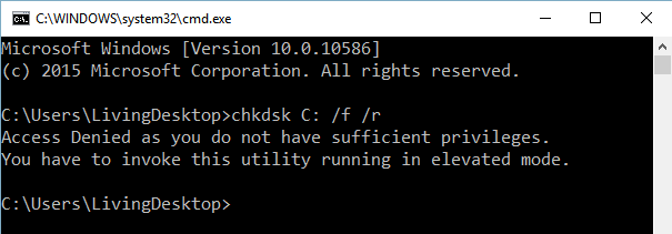 chkdsk command failed