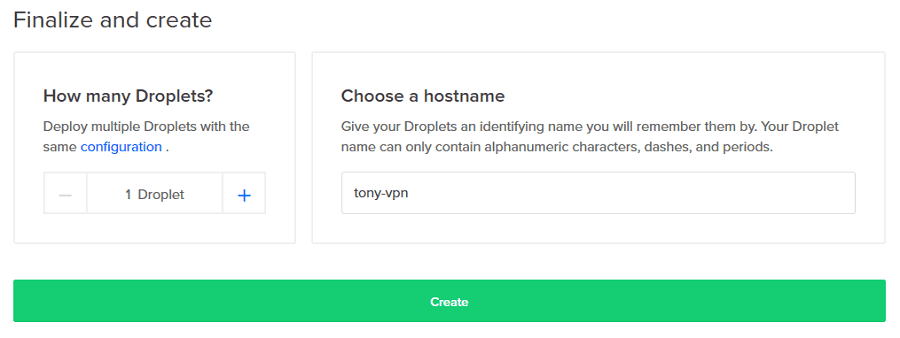 Choose a hostname in Digital Ocean