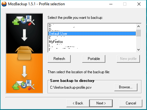 choose profile to backup