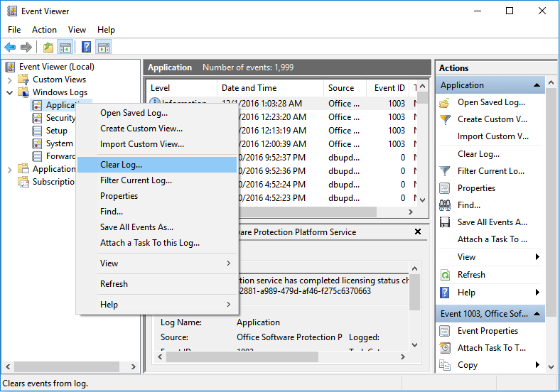 clear application event viewer log
