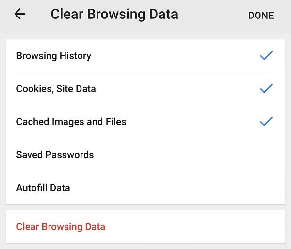 clear browsing data mobile