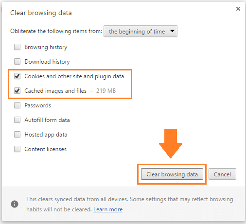 clear google chrome browsing data