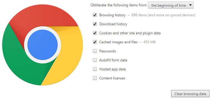 Clear Google Chrome Browser Data