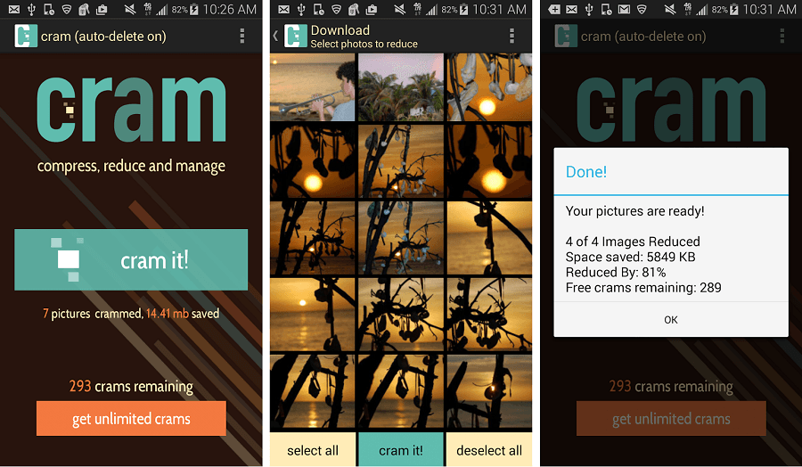Cram, compressed images for Android