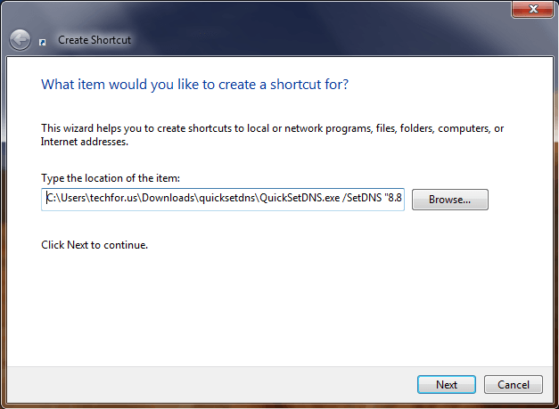 Create a new shortcut Windows