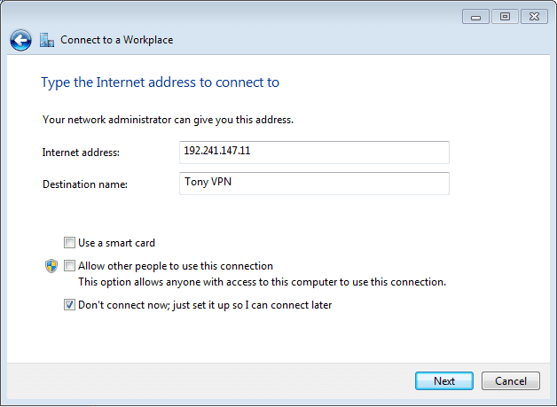 Set up new VPN in Windows 7