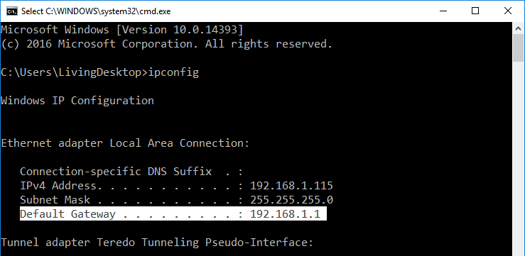 default router ip address