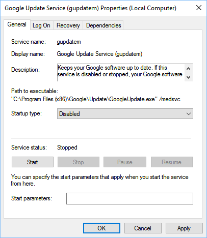 disable google update service