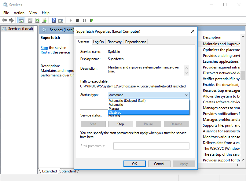 Disable Superfetch to fix System and Compressed Memory high CPU usage problem