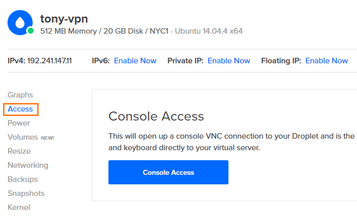 Droplet Console Access