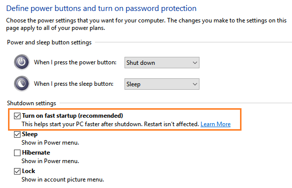 enable fast startup windows 10