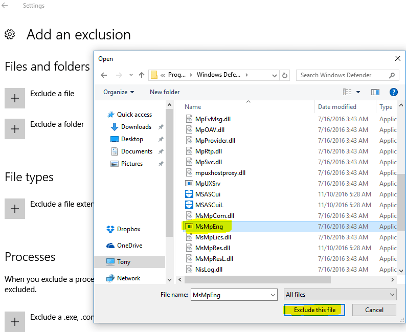 Exclude MsMpEng.exe from Windows Defender
