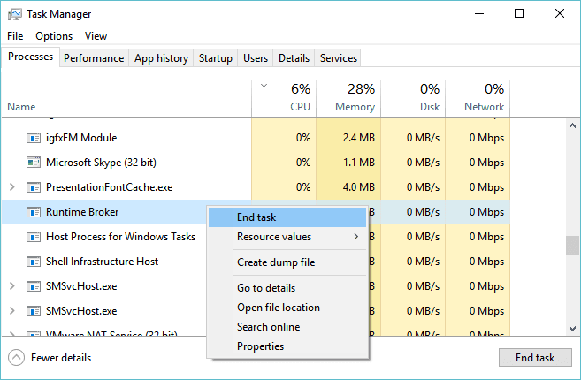 Fix Runtime Broker (RuntimeBroker exe) Problem In Windows 10