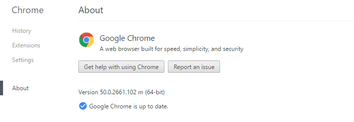 Check Google Chrome version number
