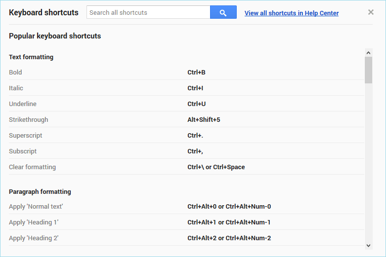 google docs keyboard shortcuts