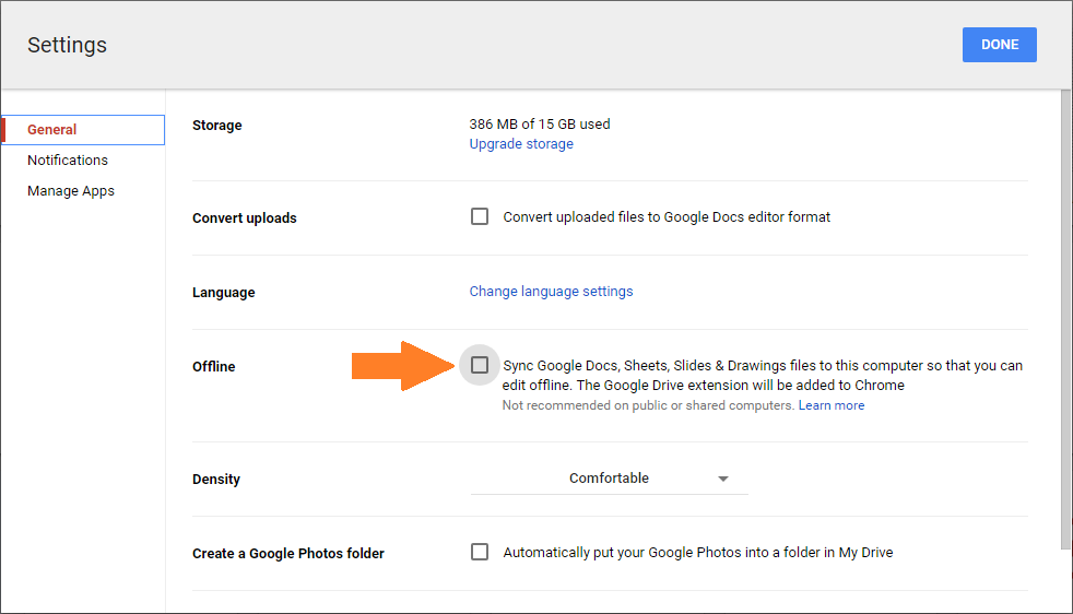 Preview of settings for google docs offline