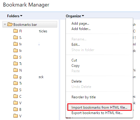 import bookmarks google chrome
