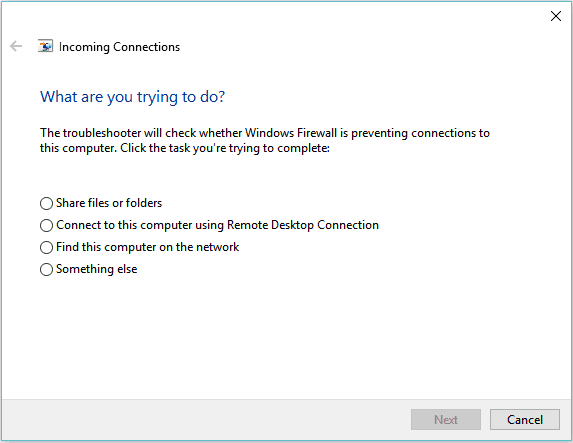Incoming Connections Windows Troubleshooter