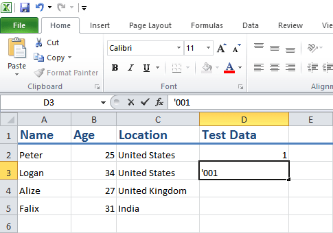insert number starting with zero in excel
