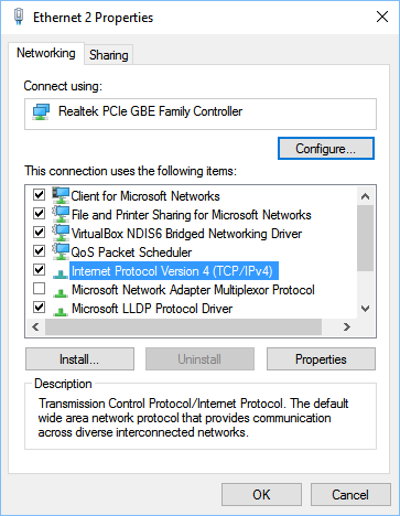 ethernet connection invalid ip address