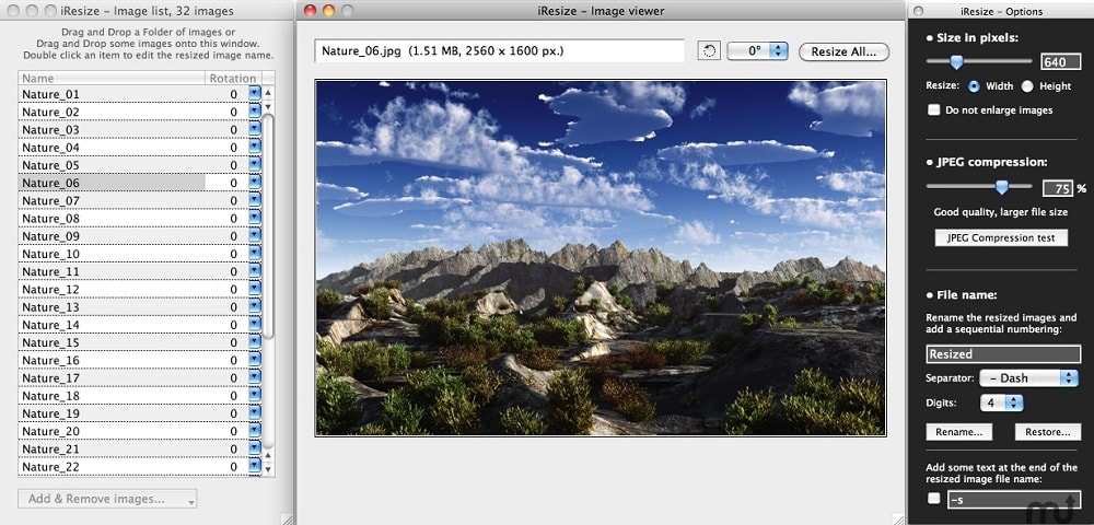iResize, free images compress and resize for Mac OS X