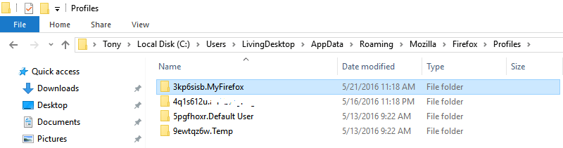 MyFirefox Profile Folder