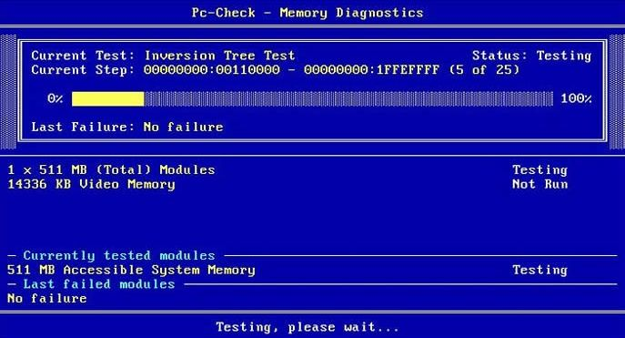 RAM memory test in PC Check