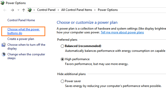 Settings of Power Options in Windows 10