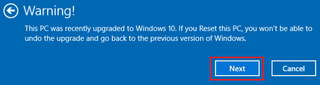 reset windows 10 pc warning