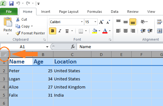 select all excel cells