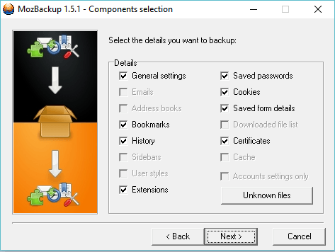 Select Firefox contents you want to backup