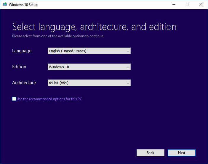 Windows 10 Media Creation tool: Select language, Windows edition and architecture
