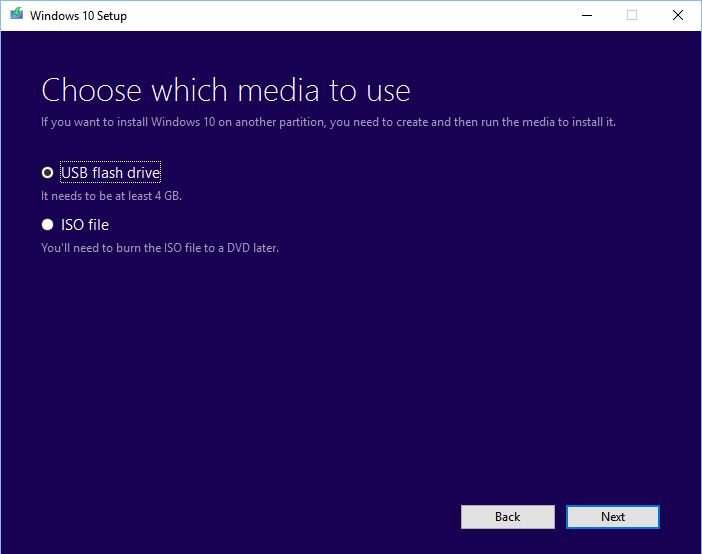 Windows 10 Media Creation tool: Select USB flash drive or ISO file