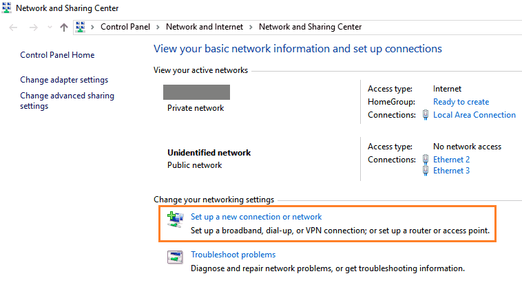 set up a new connection or network 3