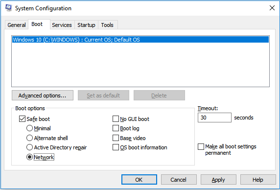 System Configuration - Boot tab