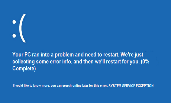 system service exception bsod error