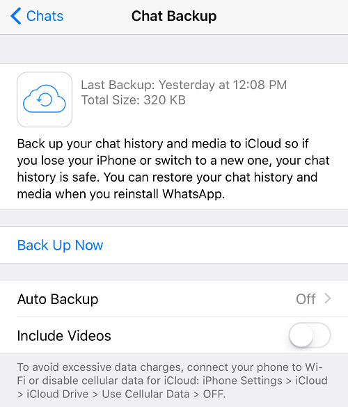 Back up WhatsApp in iOS