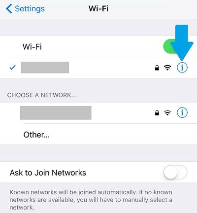 wifi settings iphone