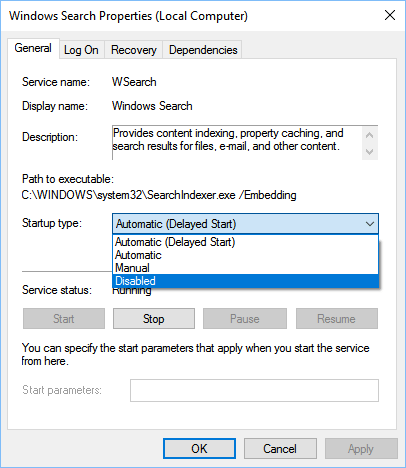 Windows 10: Disable Windows Search service