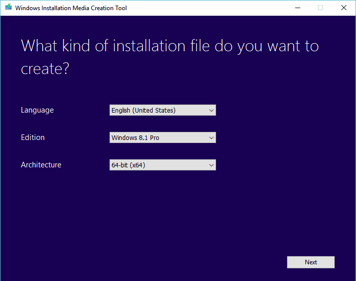 Windows 8.1 Media Creation Tool