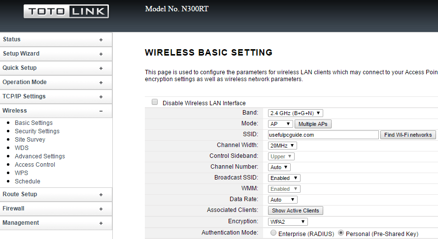 wireless basic settings